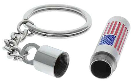 American Flag Cremation Ashes Urn Memorial Keychain
