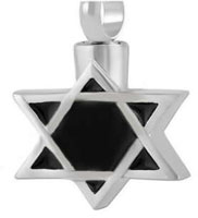 Star of David Cremation Ashes Urn Necklace Stainless