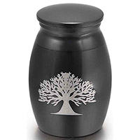 Black Cremation Ash Mini Memorial Urn Tree of Life
