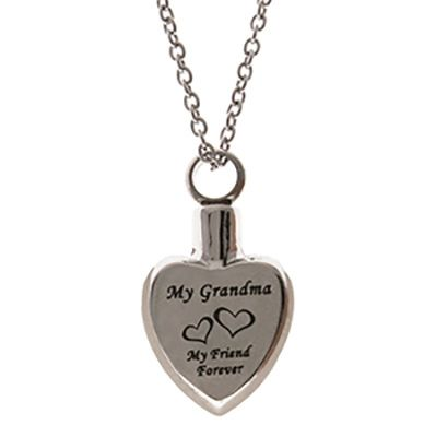Grandma Memorial Urn Necklace Stainless Steel