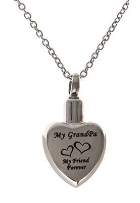 Grandpa Memorial Urn Stainless Steel Necklace