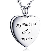 Husband Memorial Urn Necklace Stainless Steel