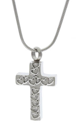 Love Hearts Cross Memorial Urn Necklace Stainless