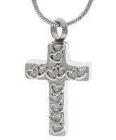 Love Hearts Cross Memorial Urn Necklace