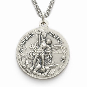bling sterling jewelry stmichael with medal michael silver antiqued box necklace scy pendant st finish bj chain