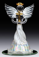 White Glass Angel with Gold Cross Statue
