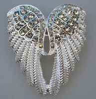 Rhinestone angel wings  brooch