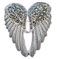 Rhinestone Angel Wings Brooch Pin Silver