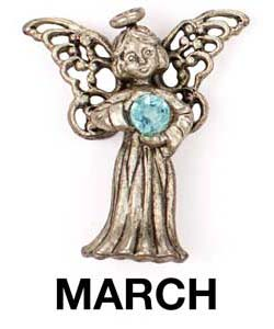 March Birthstone Angel Pin Sterling Silver Layered