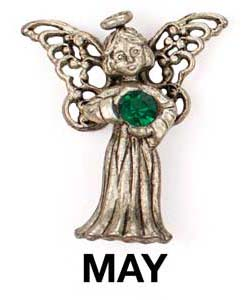 May Birthstone Angel Pin Sterling Silver