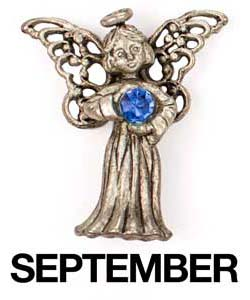 September Birthstone Angel Pin Sterling Silver