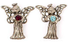Sterling Silver Birthstone Angel Pin