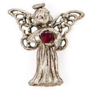 Birthstone Angel Pin Sterling Silver Layered