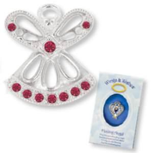 Silver Birthstone Angel Pins Rhinestone, Gift Box
