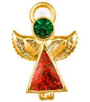 Red Austrian Crystal Christmas Angel Pin