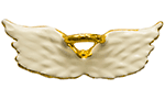 White Angel Wings with Gold Halo Pin