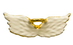 White Angel Wings Pin, Gold Halo