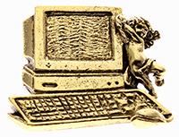 Antique Computer Guardian Angel Pin Desktop