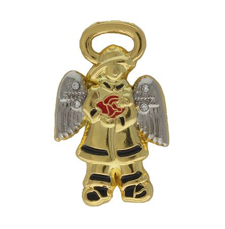 Firefighter Guardian Angel Gold Pin in Gift Box