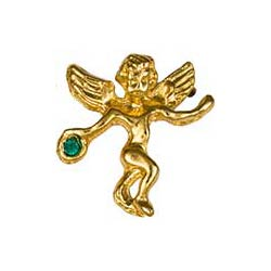 Gold May Birthstone Guardian Angel Pin