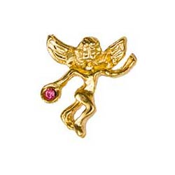 Gold October Birthstone Guardian Angel Pin
