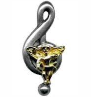 Musical Angel Lapel Pin Gold & Silver