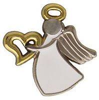 Appreciation Angel Pin Silver, Gold Heart