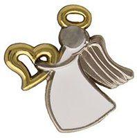 Appreciation Angel Pin Silver, Gold Heart