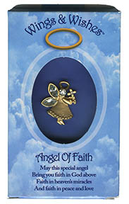 Angel of Faith Guardian angel pin holding cross