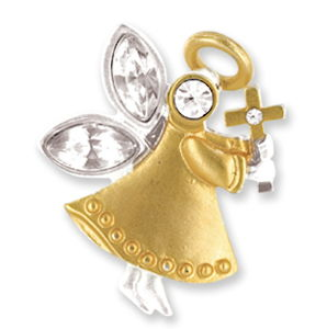 Faith Angel Lapel Pin Gold, Cross