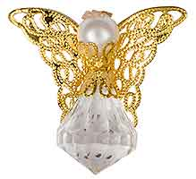 Crystal and Pearl Angel Pin