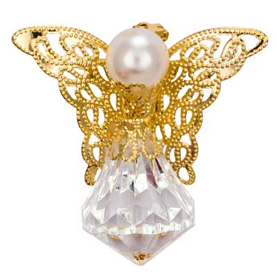 Crystal Angel Pin Gold w/ Pearl