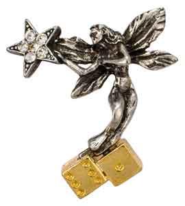 Gambling Angel Lapel Pin W/ Star, Dice