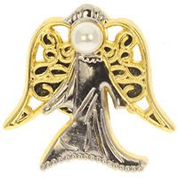 Gold Silver Pearl Angel Pin