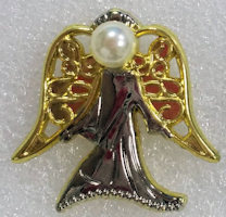 gold thinking guardian angel pin. Pin is 1/2 tall gold plated. Made in USA!