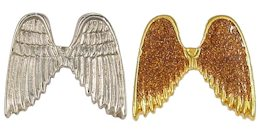 Silver or Gold Plated 1 metal glitter under protective coating angel wings. Very attractive!. Great for rewards for volunteers