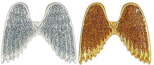 2282 Silver or Gold Glitter Angel Wings Pins