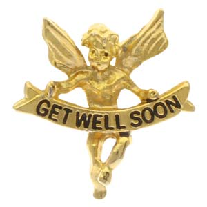 Gold Get Well Angel Pin