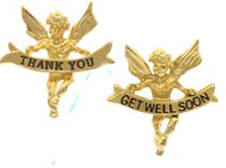 Thank you or Get Well Gold Angel Pins