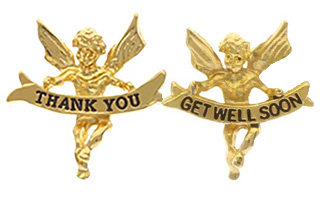 Thank you or Get Well Angel Pins