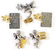 Gambling, Bingo, Lotto Angels. 2 tone winner angel pins 1 tall. All are on cards with message. Helps you win at the casinos.