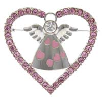 Pink Rhinestone Love Heart Angel Pin