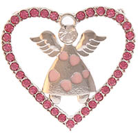 Pink Rhinestone Heart Angel Brooch Pin