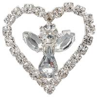 Rhinestone Angel in Heart Pin Silver