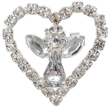 Rhinestone Angel in Heart Pin Silver