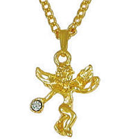 Gold Angel Necklace with Clear Crystal Stone