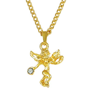 Angel Necklace with Clear Crystal Stone Gold