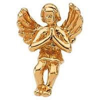 Praying Angel Pin Sitting 14 Karat Gold
