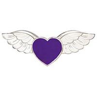 Hope Love Angel Wings Purple Heart Pin