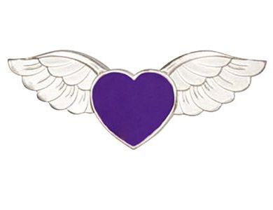 Purple Heart With Angel Wings Pin